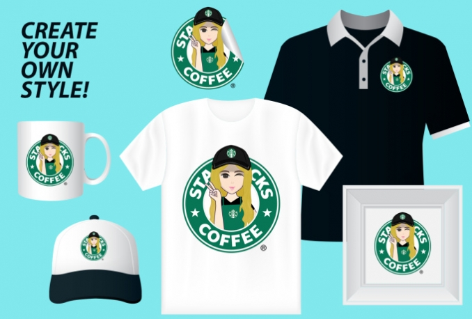 draw your portrait in starbucks logo