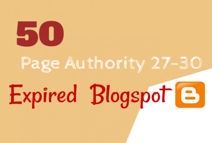 provide 50 expired BlogSpot PA 27 Plus