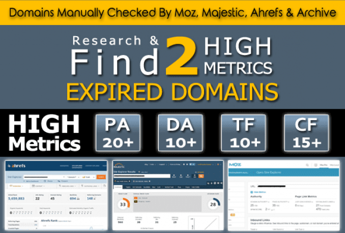 find 2 High Pa Da Tf Cf expired DOMAINS for Pbns