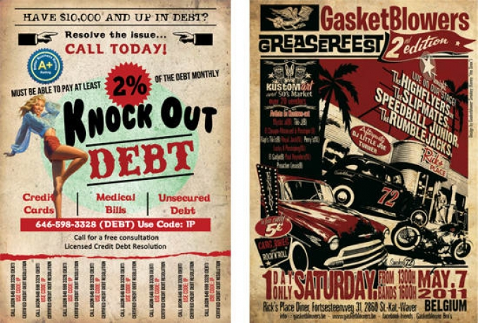 design attractive retro flyers and posters