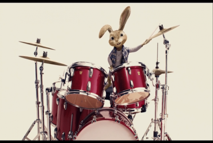 put your text and logo in this bunny playing drums animation