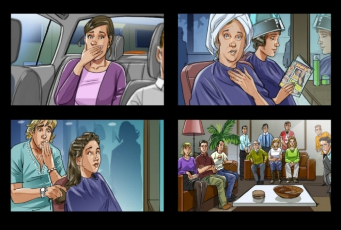 draw Full Color Storyboard for Commercials or Films