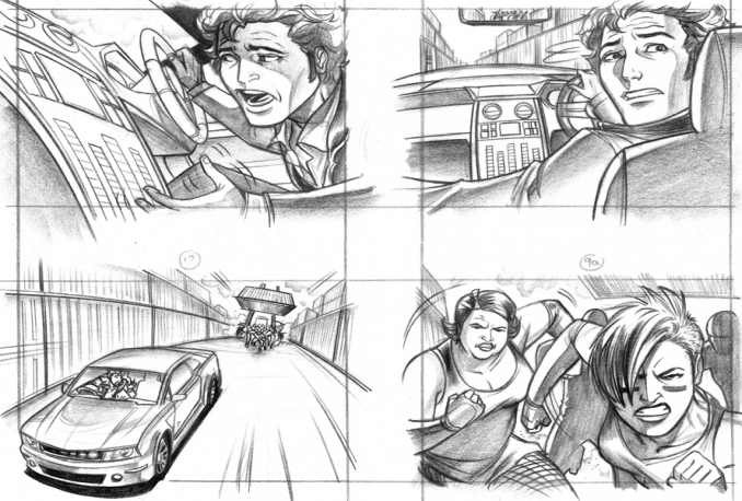 draw film storyboard / shooting board