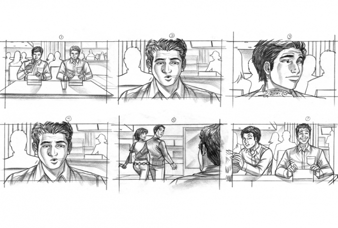 draw a storyboard or one page comic for your project