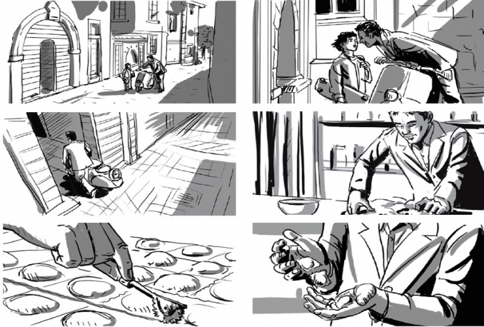 make storyboard/business process sketches
