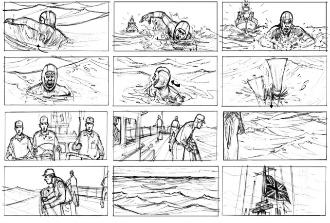 make storyboard, business process sketches
