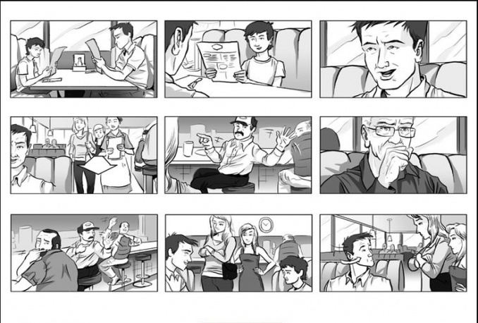 draw a one page storyboard for your movie or music video