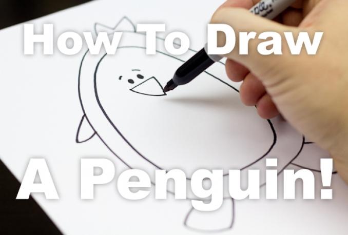 teach how to draw a Cartoon Penguin